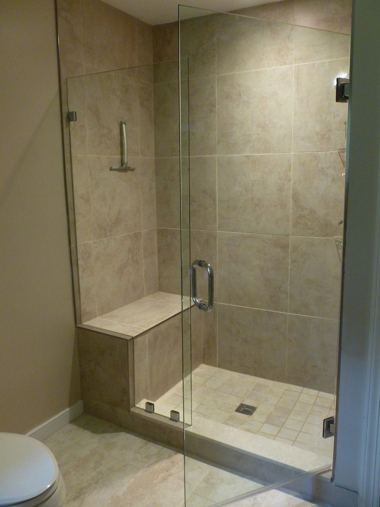 Frameless Shower Door With Notched Panel Manakin Sabot