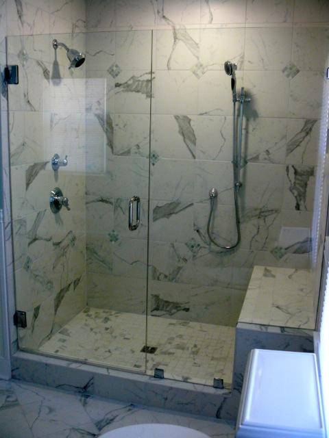 Frameless Shower Door With Bench Seat Virginia Shower